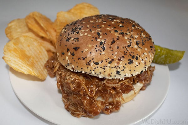 Crockpot BBQ Shredded Chicken Sandwich