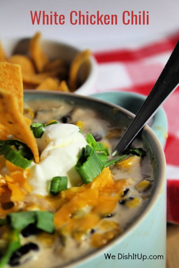 White Chicken Chili With Black Beans and Toppings