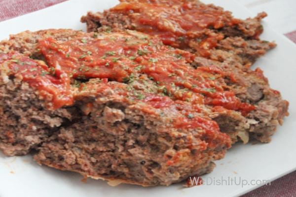 Crockpot Meatloaf Served on Plate