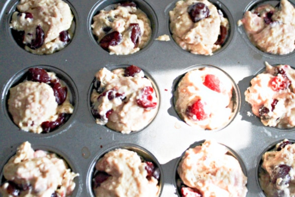 Cherry muffins going the oven.